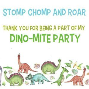Birthday Party Thank You Dinosaur  Themed Stickers